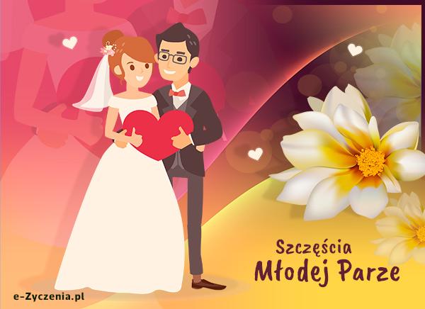 Ekartki ślubne Kartka Szczęścia Młodej Parze E życzenia